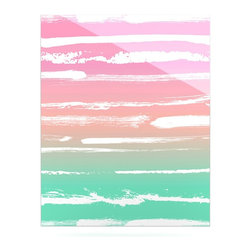 """Kess InHouse - Anneline Sophia """"Painted Stripes Pink"""" Green Pink Metal Luxe Panel (16"""" x 20"""") - Our luxe KESS InHouse art panels are the perfect addition to your super fab living room, dining room, bedroom or bathroom. Heck, we have customers that have them in their sunrooms. These items are the art equivalent to flat screens. They offer a bright splash of color in a sleek and elegant way. They are available in square and rectangle sizes. Comes with a shadow mount for an even sleeker finish. By infusing the dyes of the artwork directly onto specially coated metal panels, the artwork is extremely durable and will showcase the exceptional detail. Use them together to make large art installations or showcase them individually. Our KESS InHouse Art Panels will jump off your walls. We can't wait to see what our interior design savvy clients will come up with next."""