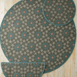 """Garnet Hill - Mosaic Star Hooked Wool Rug - Dusty Olive - OLIVE 24X48 - Hooked from pure wool that's soft underfoot, this lively design shines in any space or decor. Cotton backing. Whipstitched edges. Imported.    Size 1: 24"""" x 48""""  Size 2: 3' (round)  Size 3: 5' (round)  Size 6: 7' (round)"""