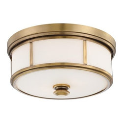 Minka-Lavery - Harbour Point Flushmount by Minka-Lavery - Tidy, tasteful, traditional. The Minka-Lavery Harbour Point Flushmount features a smooth, round Etched Opal glass shade trimmed in tiered metal. Thin metal crossbars join the bottom ring to the canopy, providing structural integrity and a tailored look. A rounded finial affixes the bottom diffuser and adds a finishing touch. Minka-Lavery, recognized as a leader in modern elegance, offers decorative lighting with high quality craftsmanship in a variety of materials, including solid brass, wrought iron and cast aluminum. Located in Corona, CA, the Minka Group is branched into three providers that offer creative designs as well as timeless classics: Minka-Lavery lighting, Minka Aire fans and George Kovacs lighting.