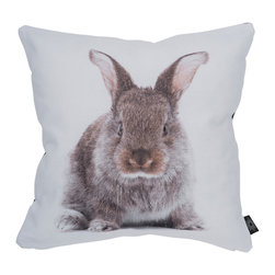 """By Nord Copenhagen - Baby Hare Kids Cushion - Hello Hare! A kids cushion with a digital print of a Baby Hare in By Nord's recognized cotton canvas quality fitted with a hypoallergenic fiber cushion. 12"""" x 12"""""""