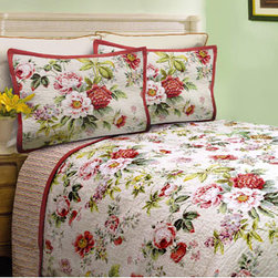Scent-Sation, Inc. - Danielle Twin Quilt - - Flowers gathered from an English Garden are used on Danielle. Botanically drawn cabbage and wild roses along with mums and phlox decorate the pattern. An array of fresh pink, spring green, yellow and sky blue colors sit on the cream ground. The reverse is a clean multi stripe in coordinating colors.  - Materials: 100% Cotton Shell - 70/30 Cotton Poly Fill  - Machine wash cold and tumble dry low. Scent-Sation, Inc. - 460TDANDS