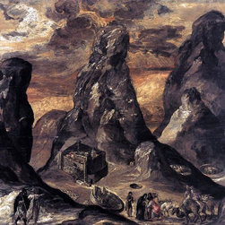 """El Greco Mount Sinai - 16"""" x 20"""" Premium Archival Print - 16"""" x 20"""" El Greco Mount Sinai premium archival print reproduced to meet museum quality standards. Our museum quality archival prints are produced using high-precision print technology for a more accurate reproduction printed on high quality, heavyweight matte presentation paper with fade-resistant, archival inks. Our progressive business model allows us to offer works of art to you at the best wholesale pricing, significantly less than art gallery prices, affordable to all. This line of artwork is produced with extra white border space (if you choose to have it framed, for your framer to work with to frame properly or utilize a larger mat and/or frame).  We present a comprehensive collection of exceptional art reproductions byEl Greco."""