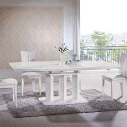 Extendable Wood and Leather Kitchen Dinette Sets - White luxury Italian style dining set with extension and chairs. The adorable and spectacular white contemporary dinette with wooden top and extension can make your dining room more appealing and stylish.
