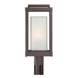 Quoizel - Quoizel PWL9009WT Powell 1 Light Post Lights & Accessories in Western Bronze - Long Description: Enhance the exterior of your home with this unique and unadorned Powell collection. The shadowbox is striking in a western bronze finish and is contrasted beautifully by the rectangular white art glass.