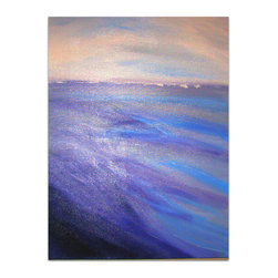 The Shore, Painting - This peaceful piece will enhance any room. The colors are light blues, lavenders and white. It is 30 x 40 inches with sides that are 1.5 inches thick and paint wraps around sides so no frame is needed. It is ready to hang and varnished for protection.