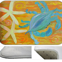 Crabby Starfish Deco Plush Bath Mat, 30X20 - Bath mats from my original art and designs. Super soft plush fabric with a non skid backing. Eco friendly water base dyes that will not fade or alter the texture of the fabric. Washable 100 % polyester and mold resistant. Great for the bath room or anywhere in the home. At 1/2 inch thick our mats are softer and more plush than the typical comfort mats.Your toes will love you.