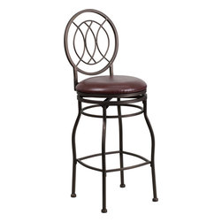 Flash Furniture - Flash Furniture 29 Inch Brown Metal Bar Stool with Brown Leather Swivel Seat - This gracefully styled stool will add an elegant finish to your kitchen, dining room or bar area. The curvaceous frame and attractive powder coated finish will complement any decor. The plush padded seat looks and feels great. A full 360 degree swivel and footrest ring provides comfort and ease. [BS-6309-29-BN-GG]