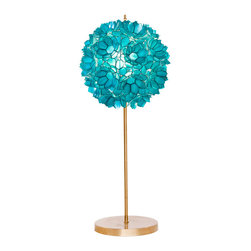 Worlds Away - Worlds Away Gold Leaf Iron Lamp with Turquoise Capiz Shell Shade VENUS TL - Gold leaf iron lamp with turquoise capiz shell shade. Clear cord. Ul approved for one 60 watt bulb.
