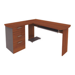 Bestar - Bestar Capri L-Desk with Pedestal in Cognac Cherry and Slate - Bestar - Computer Desks - 824203176 - Compact and functional this L-Shape Computer Workstation fits everywhere. It features a single file pedestal for storage with a box drawer a file drawer and a cabinet. The computer desk also features a pull out keyboard tray and a CPU holder for storage. It is finished in Cognac Cherry and slate and comes ready to assemble.