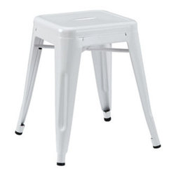 "LexMod - Promenade Stool in White - Promenade Stool in White - Together we can accomplish what each of us alone cannot. Gathering reminds us of our collective surge of ambition to solve individual disorder. From its electric-plated metal finish, to its overall fluid notion of design, Gathering is not something you can simply present as is. While todays world of commercialism likes to pigeonhole products by category, Gathering is a unique stool that defies classification. Set Includes: One - Promenade Modern Stool Modern Stool, Electric-Plated Metal, No Assembly Required, Non-Marking Feet Caps Overall Product Dimensions: 16.5""L x 16.5""W x 32.5""H - Mid Century Modern Furniture."