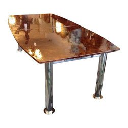Pre-owned Custom Designed Amber Glass Dining Table - Design Plus Gallery in San Rafael, CA has this one of kind, custom designed and built amber glass top dining table. Two slabs of amber glass are supported by four polished chrome legs. Every part of this dining table glistens and shines. It will brighten up any room!