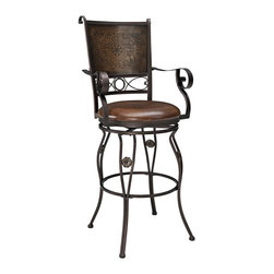 Powell Furniture - Big & Tall Copper Stamped Back Barstool with - Designed for people large and small. . Generous sized seat. . Great for a home bar or kitchen island. . Swivel Seat for comfort and ease of use. . Bronze Finish