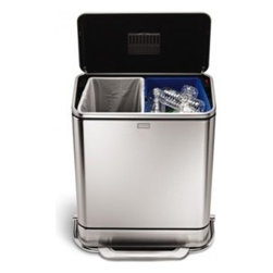 55L Steel Bar Step Trash Can and Recycler - Modern commercial-grade kitchens are hot. But you don't have to remodel the entire kitchen to get the look — just add a few touches. This waste bin, made of stainless steel, looks great and saves space with its built-in trash and recycling bins.
