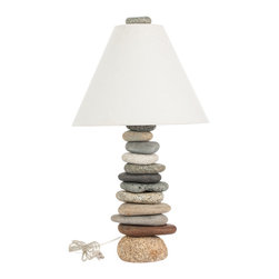 Funky Rock Designs - Balanced Rock Lamp - Nature in balance.. These beautiful handcrafted stone lamps are made by selecting stones from the beaches of New England ,naturally round and smooth by years of tumbling in the oceans surf. Each lamp is unique and artfully crafted with a variety of shapes and colors.