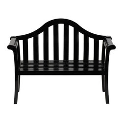 Minuteman International - Achla Designs Black Camelback Bench - OFB-12B - Shop for Benches from Hayneedle.com! Contemporary and sophisticated the Black Camelback Bench is a chic addition to any garden setting. Finished in weather-resistant black polyurethane this bench features a slatted seat and back. A decorative arched back and rolled arms complete the look and add a classic touch to the bench. Constructed of durable sustainable eucalyptus grandis this lovely bench is eco-friendly as well as eye-catching and durable. Assembly required. Dimensions: 51W x 22D x 40H inches.About ACHLA DesignsThis item is created by ACHLA Designs. ACHLA is a garden accessories company that emphasizes unique wood and hand-forged wrought iron European furnishings for the home and garden. ACHLA Designs continues to add beautiful and unique items year after year resulting in an unusually large product line. All ACHLA products are stocked in the company's warehouse for year-round prompt shipping. ACHLA Designs takes great pride in offering exceptional products and customer service.