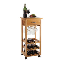 Winsome Wood - Winsome Wood Wine Cart w/ Glass Rack in Light Oak - A compact rolling wine station of solid Beechwood, Handy drawer holds opener, corks accessories, etc. Hanging glass storage under the drawer and room for 9 bottles of wine. Wine Cart (1)