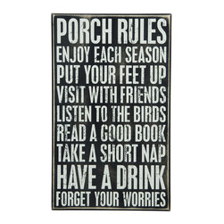Primitives by Kathy - 'Porch Rules' Box Sign - Add a touch of whimsy to your décor with this charming sign that features a playful message.   10'' W x 16.5'' H Wood Imported