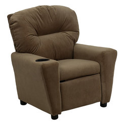 Flash Furniture - Flash Furniture Contemporary Brown Microfiber Kids Recliner - Kids will now be able to enjoy the comfort that adults experience with a comfortable recliner that was made just for them! This chair features a strong wood frame with soft foam and then enveloped in durable microfiber upholstery for your active child. Choose from an array of colors that will best suit your child's personality or bedroom. This petite sized recliner will not disappoint with the added cup holder feature in the armrest that is sure to make your child feel like a big kid! [BT-7950-KID-MIC-BRWN-GG]