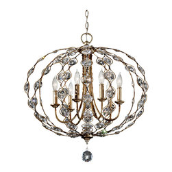 Murray Feiss - Murray Feiss F2740/6BUS Leila 6 Bulb Burnished Silver Chandelier - Murray Feiss F2740/6BUS Leila 6 Bulb Burnished Silver Chandelier