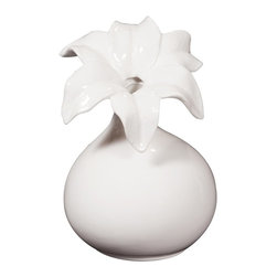 Howard Elliott - Glossy White Ceramic Flower Vase - I - This elegant ceramic vase is finished in a glossy white and features a flowered opening.