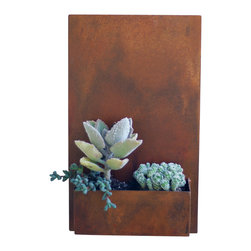 "Urban Mettle - Metal Wall Planter & Address Plaque - 20"" x 12"" Vertical, Rust, Without Numbers - Model #: East Side Planter"