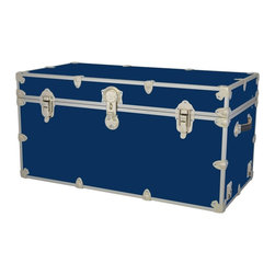 Artisans Domestic - Storage Trunk Chest in Royal - Include small ventilation holes and specially designed American made two soft-close lid supports. Superior quality, heavy-duty toy trunk. Handcrafted and kid friendly. Designed for a child's well-being. Lined with cabinet grade birch. Heavy gauge steel trim and corner pieces. Leather strap handles for moving easily. Hasp for padlock. Waterproof, dent resistant and scratch resistant. Made from 1000 denier cordura sheathing, baltic birch and Laminate. Made in USA. 44 in. L x 24 in. W x 22 in. H (69 lbs.)Safety First! yet looks handsome in any room. This treasure chest incorporates several safety features. They are even strong enough to stand on! Now that's a great toy box!