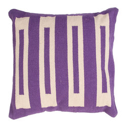 """Jaipur Rugs - Handmade Cotton Purple/Ivory/White (18""""x18"""") Pillow - Corsica are flatweave dhurri styled pillows in pastels and bright colors to liven any d�cor."""
