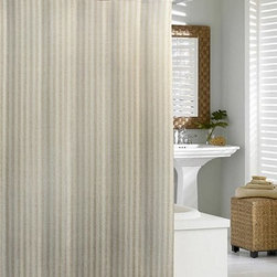 Kassatex Cortina Linen Shower Curtain Flax - Natural linen adds organic elegance to your bath. The Kassatex Cortina Linen Chevron Shower Curtain Flax is made up of 50% linen and 50% cotton to be durable and luxurious. A striped design adds style and it's machine-washable for convenience.