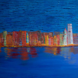 Traditional Chicago Skyline (Original) by Dori Rogers - This traditional Chicago skyline contrasts color, texture, and mood. The upper half of the painting is very textured and busy, while the bottom half is smooth and serene. The reds, oranges, and yellows stand out vibrantly against the blues of the sky and water. The painting symbolizes the calmness one can find within their own city among the occasionally chaotic lifestyle of urban settings.