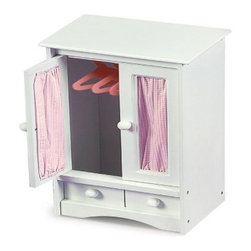 Badger Basket Pink Gingham Princess Doll Armoire - The Badger Basket Pink Gingham Princess Doll Armoire is the perfect place to keep a favorite baby doll's clothes neat and organized. This cute little armoire features a white finish with doors accented by pretty pink gingham curtains. Inside are 3 hangers for tiny dresses or jackets. A lower faux drawer completes the realistic look. Perfect for children 3 years and older. Crafted of durable wood and composite materials so it will last for years. Some assembly required. All finishes are non-toxic. Badger Basket CompanyFor over 65 years Badger Basket Company has been a premier manufacturer of baskets bassinets bassinet bedding changing tables doll furniture hampers toy boxes and more for infants babies and children. Badger Basket Company creates beautiful and comfortable products that are continually updated and refreshed bringing you exciting new styles and fashions that complement the nostalgic and traditional products in the Badger Basket line.