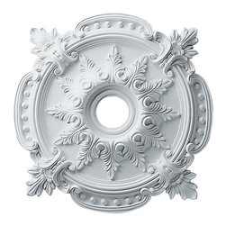 "Ekena Millwork - Benson Classic Ceiling Medallion, 28⅜""OD x 4½""ID x 1⅝""P - 28 3/8""OD x 4 1/2""ID x 1 5/8""P Benson Classic Ceiling Medallion. Our ceiling medallion collections are modeled after original historical patterns and designs. Our artisans then hand carve an original piece. Being hand carved each piece is richly detailed with deep relief, sharp lines, and a truly unique touch. That master piece is then used to create a mould master. Once the mould master is created we use our high density urethane foam to form each medallion. The finished look is a beautifully detailed, light weight, solid construction, focal piece. The resemblance to original plaster medallions is achieved only by using our high density urethane and not vacuum formed, ""plastic"" type medallions. - Medallions can be cut using standard woodworking tools to add a hole for electrical or a ceiling fan canopy. - Medallions are light weight for easy installation. - They are fully primed and ready for your paint. If you have any questions feel free to ask. These are in stock and available for immediate shipment."