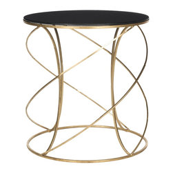 Safavieh - Cagney Accent Table - Gold/Black Glass Top - The dynamic curves and chic finish of the Cagney Accent Table make it a polished addition to any decor. Crafted with a gold-finish iron base and black glass tabletop, it brings modern elegance to any decor. It is an ideal spot for a cocktail, small lamp or priceless antique.