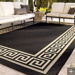 Greek Key Outdoor Rug by Frontgate - Add a Greek key outdoor rug to your patio for an elegant and classic touch.