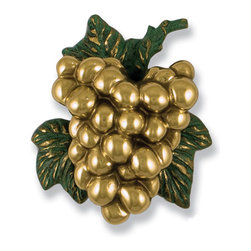 Grape Cluster Door Knocker - Polished Brass - Scrumptious grapes will set the tone for a pleasant visit when your guests are greeted with this door knocker. Skillfully hand-crafted to maximize texture and tone, this comes complete with mounting bracket and strike plate.