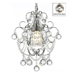 "The Gallery - Chrome Crystal Chandelier Chandeliers Lighting H 15"" W 11.5"" - 100% Crystal Chandelier. A Great European Tradition. Nothing is quite as elegant as the fine crystal chandeliers that gave sparkle to brilliant evenings at palaces and manor houses across Europe. This beautiful chandelier from the Versailles Collection has 1 light and is decorated and draped with 100% crystal that capture and reflect the light of the candle bulb. The timeless elegance of this chandelier is sure to lend a special atmosphere anywhere its placed! This chandelier is dressed with spectacular crystal balls which take the sparkle to an entirely new level of brilliance! ASSEMBLY REQUIRED. H 15"" W 11.5"" 1 LIGHT"