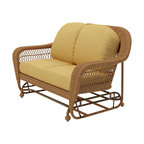 Forever Patio - Catalina Wicker Patio Double Glider, Straw Wicker, Wheat Cushions - The Forever Patio Catalina Double Glider in Straw Wicker with Gold Sunbrella&Reg; Cushions (SKU FP-CAT-DG-ST-CW) features a deep-seated design and sweeping curves, making it both incredibly comfortable and stylish. The UV-protected, straw-colored wicker incorporates subtle shifts in tones, providing a look that is complex and beautiful. This chair includes fade- and mildew-resistant Sunbrella® cushions.