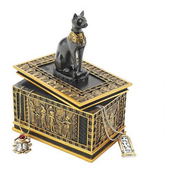 EttansPalace - Royal Bastet Egyptian Collectible Treasure Jewelry Box/Gift Item - Set of 2 - The royal cat goddess sits atop a sarcophagus laden with elaborate Egyptian imagery in this hand-painted, quality designer resin work of decorative art created exclusively for XB. Hand-painted in faux gold and ebony as the perfect gift!