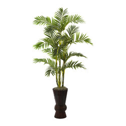 "Nearly Natural - 62"" Areca Tree w/Decorative Planter - Bringing with it a definitive sense of warm, tropical beaches, this 62"" Areca tree will have you looking for your hammock and sunblock. The multiple trunks rise tall from the included decorative planter, ending in an array of delicate leaves that beg for warm breezes to dance in. But you won't need breezes, sun, or even water - this beauty will stay fresh looking for decades to come. Hey, it's 5:00 somewhere!!"