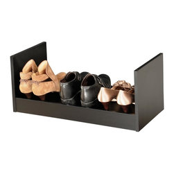 Venture Horizon - Portable Stackable Shoe Rack in Black Finish - Fits 3 pairs of shoes per rack. Includes 1 rack. Compact. Stackable. Portable. Constructed from durable, stain resistant and laminated wood composites that includes MDF. Made in the USA. Minimal assembly required. Weight: 8 lbs.. Assembled size: 24 in. W x 12 in. D x 10 in. HAn Inexpensive Alternative...Build An Entire Wall. If budget is the word but you still have a ton of shoes than our inexpensive Stackable Shoe Racks are the way to go. You can stack them as high and as wide as you want. Build an entire wall and store 100's of pairs of shoes. Not only are they a practical alternative to more elaborate and expensive shoe cabinets they are also convenient. They are portable and you can take them with you anywhere. Fits into any closet, or works as a stand alone in any room in the house. Sturdily constructed from melamine laminated particle board.