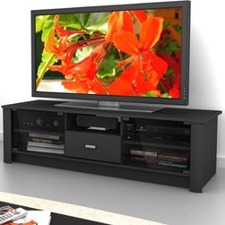 """dCOR design - Bromley 60"""" TV Stand - Features: -Adjustable shelves behind glass doors.-TV Size Accommodated: Accomodates up to 68"""" TV.-Finish: Midnight black.-Powder Coated Finish: No.-Gloss Finish: No.-Material: Engineered wood & tempered glass.-Number of Items Included: 1.-Solid Wood Construction: No.-Distressed: No.-Exterior Shelves: Yes -Number of Exterior Shelves: 1.-Adjustable Exterior Shelves: No..-Drawers: Yes -Number of Drawers: 1.-Drawer Glide Material: Metal.-Soft Close Drawer Glides: No.-Safety Stop: Yes.-Ball Bearing Glides: Yes.-Drawer Dividers: No.-Drawer Handle Design: Bar..-Cabinets: Yes -Number of Cabinets: 2.-Number of Doors: 2.-Door Attachment Detail: Hinges.-Interchangeable Panels: No.-Magnetic Door Catches: Yes.-Number of Interior Shelves: 4.-Adjustable Interior Shelves: Yes..-Scratch Resistant: No.-Casters: No.-Accommodates Fireplace: No.-Fireplace Included: No.-Lighted: No.-Media Storage: No.-Cable Management: No.-Remote Control Included: No.-Batteries Required: No.-Weight Capacity: 200 lbs maximim TV weight.-Swatch Available: Yes.-Commercial Use: No.-Collection: Bromley.-Recycled Content: No.-Lift Mechanism: No.-Expandable: No.-TV Swivel Base: No.-Integrated Flat Screen Mount: No.-Hardware Material: Metal.-Non-Toxic: No.-Country of Manufacture: Canada.Specifications: -ISTA 3A Certified: No.-CARB 2 Certified: Yes.-CARB Certified: Yes.-FSC Certified: No.-General Conformity Certified: No.-CSA Certified: No.-EPP Certified: No.Dimensions: -Overall Height - Top to Bottom: 17"""".-Overall Width - Side to Side: 60"""".-Overall Depth - Front to Back: 20"""".-Drawer: -Drawer Interior Height - Top to Bottom: 3.5"""".-Drawer Interior Width - Side to Side: 13.75"""".-Drawer Interior Depth - Front to Back: 15""""..-Shelving: -Shelf Width - Side to Side (Exterior) : 16.25"""".-Shelf Width - Side to Side (Interior) : 17.75""""..-Overall Product Weight: 93 lbs.Assembly: -Assembly Required: Yes.-Tools Needed: Screwdriver.-Additional Parts Required: No.Warranty: -Product Warranty: 1 """