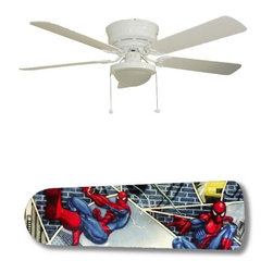 "Spiderman Superhero 52"" Ceiling Fan with Lamp - This is a brand new 52-inch 5-blade ceiling fan with a dome light kit and designer blades and will be shipped in original box. It is white with a flushmount design and is adjustable for downrods if needed. This fan features 3-speed reversible airflow for energy efficiency all year long. Comes with Light kit and complete installation/assembly instructions. The blades are easy to clean using a damp-not wet cloth. The design is on one side only/opposite side is bleached oak. Made using environmentally friendly, non-toxic products. This is not a licensed product, but is made with fully licensed products. Note: Fan comes with custom blades only."