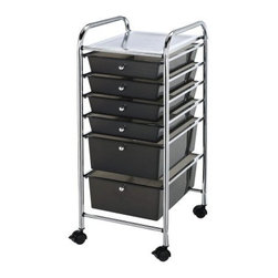 Alvin Blue Hills Storage Cart with Smoke Colored Drawers - Stuff has a tendency to pile up; it's one of the laws of the universe. But that doesn't mean you have to sit back and let entropy make a mess of your space. The Blue Hills Storage Cart with Smoke Colored Drawers is here to help you restore order. It features a unique patented interlocking rail and drawer system that prevents the drawers from shifting off the rails. Molded stops on the drawers prevent drawers from pushing through the back. Four smooth-rolling casters (2 locking) allow you to move this cart about the room as needed. Choose from several size options to get just the amount of clutter-fighting organization you need. Dimensions 3-Drawer Cart: 13.2L x 15.4W x 26H inches6-Drawer Cart: 13.2L x 15.4W x 32H inches10-Drawer Cart: 13.2L x 15.4W x 38H inches All small drawers measure 13.38L x 9.38W x 2.5H inches. All large drawers measure 13.62L x 9.75W x 5H inches. Each drawer has a 3-lb. capacity.