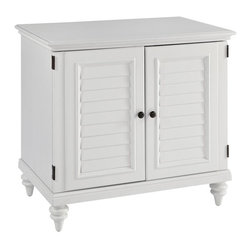 HomeStyles - Brushed White Compact Computer Cabinet - Inspired by the fusion of British colonial and old world tropical design, the Bermuda Student Desk and Hutch highlights poplar solids and engineered wood in a designer hand-applied visible brushed stroke white finish. Further inspiration can be found in the shutter style designs and turned legs. Bounteous storage is provided with one storage drawer, two shelves (one adjustable), pull-out keyboard tray with ball bearing full extension guides, printer shelf, and file drawer that can accept legal or letter sized paper. The two cabinet doors are able to fit flush against unit when opened completely. Beautifully accented with antique brass hardware. 38 in. W x 24 in. D x 34.5 in. H