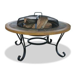 Blue Rhino - Slate Tile/ Faux Wood Outdoor Firebowl - Uniflame WAD1358SP Slate Tile/ Faux Wood Outdoor Firebowl.  This Blue Rhino outdoor wood burning firepit is a functional and affordable addition to any deck, patio or pool side. It features a handcrafted slate tile and faux wood mantle for a traditional and elegant feel. Also included is the insert cover which instantly converts from a firepit to a table, perfect for entertaining. Simple assembly with no tools required makes this into a extremely functional and affordable addition to any home. Diameter: 34 inches