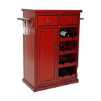 Hand-Painted Red Finish Solid Birch Wine Cabinet - This would be charming in a little nook in the dining room. Mix drinks on top and use the drawers for cocktail napkins and corkscrews.