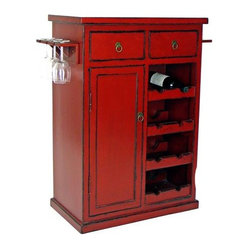 Hand-Painted Red Finish Solid Birch Wine Cabinet