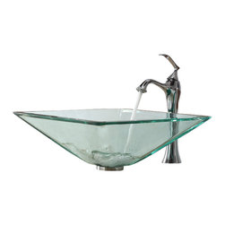 Kraus - Kraus Clear Aquamarine Glass Vessel Sink and Ventus Faucet Chrome - *Add a touch of elegance to your bathroom with a glass sink combo from Kraus