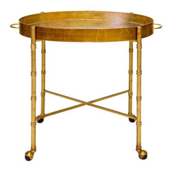 Worlds Away - Worlds Away Brighton Bar Cart In Gold Leaf - Worlds Away touches the home with marvelous of-the-moment treasures inspired by vintage finishes, patterns and styles. The Brighton bar cart serves living rooms and dining rooms a modern, sculptural form. Rising from textured bamboo legs, an antique mirror tray with handles lends the gold leaf furnishing a statement-making display surface. Four bottom casters allow for easy mobility while entertaining. Wheels do not lock..