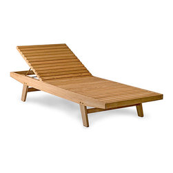 Thos. Baker - Teak Wing Point Lounger Light Blue Cushions | Bainbridge Collection - Our  wing point lounger is a commercial grade piece of furniture with a clean, spare design and the widest bed in its class. The back adjusts to 5 positions, including flat, and is supported by a sturdy brass rod.