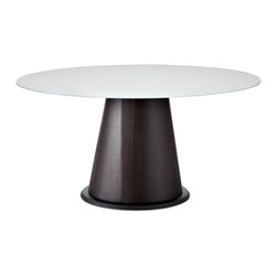 Domitalia - Palio-152 Dining Table, Wenge/White Glass - Round Table